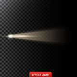 Vector illustration of a golden light ray, a light beam, a glow effect. An explosion, a flash on a black background. Design element royalty free illustration