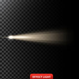 Vector illustration of a golden light ray, a light beam, a glow effect. An explosion, a flash on a black background. Design element stock illustration