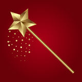 Vector illustration of golden magic wand on red background Royalty Free Stock Photo