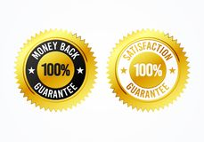 Vector Illustration golden 100% money back and satisfaction guarantee label medal. Golden 100% money back and satisfaction guarantee label medal Royalty Free Stock Images