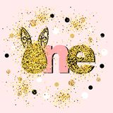 Vector illustration golden One with Bunny ears. Template for Baby Birthday, party invitation, greeting card, t-shirt design. Cute One as First year anniversary Stock Image
