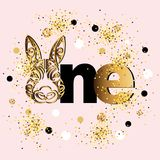 Vector illustration golden One with Bunny head. Template for Baby Birthday, party invitation, greeting card, t-shirt design. Cute One as First year anniversary Royalty Free Stock Photos