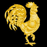 Vector illustration golden rooster on black background Royalty Free Stock Photo