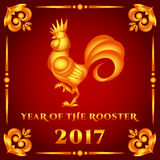 Vector illustration golden rooster on red background. Cock symbol chinese 2017 year Stock Photos