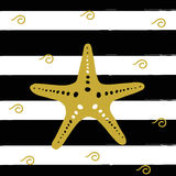 Vector illustration of golden sea star on the black stripes. Royalty Free Stock Photos