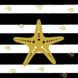 Vector illustration of golden sea star on the black stripes. Illustration of golden sea star on the black stripes. Vector art Royalty Free Stock Photos