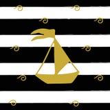 Vector illustration of golden ship on the black stripes. Postcard illustration Stock Images