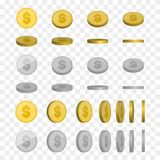 Vector Illustration of golden and silver coins. Money isolated Stock Photos