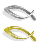 Vector illustration of golden and silver icthus. Vector illustration of 2 realistic golden and silver icthus Stock Image