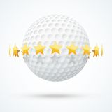 Vector illustration of golf ball with golden stars Stock Photos