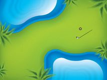 Vector illustration golf course, top view. Ttwo lakes on the golf course to complicate the game Stock Image