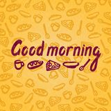Vector illustration of a Good morning for postcards, posters. Seamless background, pattern. Tea cup, mug of coffee, spoon, plate, piece of cheese. Font Stock Image