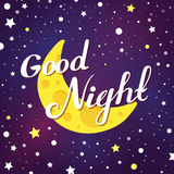 Vector illustration of good night lettering on dark sky with moon and stars. Royalty Free Stock Images