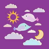 Vector illustration good night.  Two little small fishes wish sweet dreams Stock Images