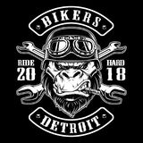 Vector illustration with Gorilla Biker. Design of motorcycle path with rider. Black and white version stock illustration