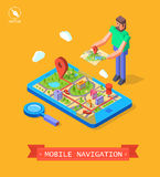 Vector illustration of GPS in mobile. Navigation Royalty Free Stock Photo
