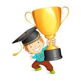 Graduate holding Trophy Stock Photos