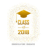 Vector illustration of a graduating class in 2018 graphics gold. Elements for t-shirts, and the idea for the sign or badge Royalty Free Stock Images