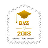 Vector illustration of a graduating class in 2018 graphics gold. Elements for t-shirts, and the idea for the sign or badge Royalty Free Stock Photo