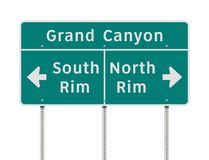 Grand Canyon rims direction road sign. Vector illustration of the Grand Canyon South and North rims direction green road sign royalty free illustration