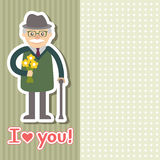 Vector illustration. Grandfather with flowers Royalty Free Stock Photo