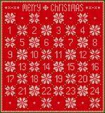 Red Knitted Advent Calendar. Vector illustration in Grandmas style. . Knitted Advent Calendar Royalty Free Stock Image