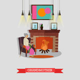 Vector illustration of grandmother sitting in armchair at the fireplace. Royalty Free Stock Photo