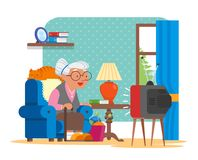Vector illustration of grandmother sitting in armchair and watching TV. Cat lying behind of her. Cartoon characters and living room interior in flat design Stock Image