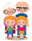 Vector illustration of grandparents and their grandchildren Stock Photo