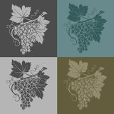 Vector illustration with grapes and leaves on a light yellow background, wine production Royalty Free Stock Images