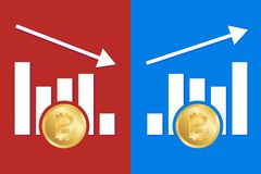 Graphic increase decrease bitcoin royalty free illustration