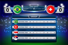 Scoreboard Broadcast for table group e. Vector Illustration Graphic of Scoreboard Broadcast and Lower Thirds Template with group table for soccer world Royalty Free Stock Photo