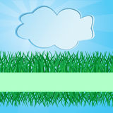 Vector illustration with grass and cloud Stock Image