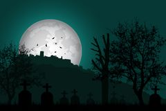 Vector illustration of a graveyard with tombstones and trees in Stock Photography