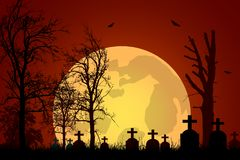Vector illustration of a graveyard with tombstones and trees under a haunted red sky with a big moon stock illustration