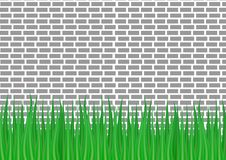 Gray brick wall and green grass from below. Vector illustration. gray brick wall and green grass from below Vector Illustration