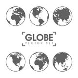 Vector Illustration of gray globe icons with different continents.  Stock Images