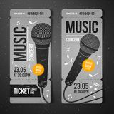 Vector illustration gray music concert ticket design template with microphone and cool grunge effects in the background. Gray music concert ticket design royalty free illustration