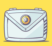 Vector illustration of gray safe envelope  on yellow background. Stock Images