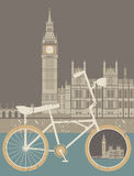Vector illustration of the Great Bell of the clock at the north. End of the Palace of Westminster  and vintage bicycle. Vector image about Travel & Healthy Stock Photo