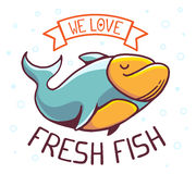Vector illustration of great blue green fish. With title we love fresh fish on white background with bubbles. Hand drawn line art design for web, site Stock Photos