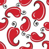Red hot chili pepper seamless pattern on a white background. Vector Illustration. Great for fabric and textile, wallpaper, packaging, menu, flyer or any desired Royalty Free Stock Photography