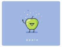 Vector illustration of green apple cartoon character Royalty Free Stock Photos