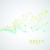 Vector illustration of green background with a dynamic waves and leaves. Bright poster