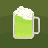Vector illustration of green beer mug Royalty Free Stock Photo