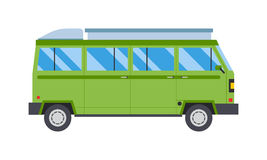 Vector illustration with green bus road travel transport. Royalty Free Stock Images