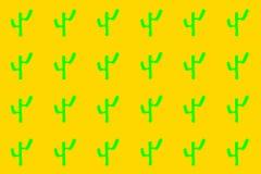 Green cacti in orange background royalty free stock photos