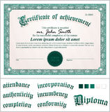 Vector illustration of green certificate. Stock Photo