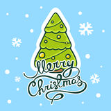 Vector illustration of green christmas tree with hand written te Royalty Free Stock Photography
