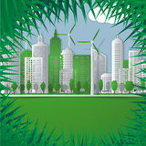 Vector  illustration of Green city Stock Images
